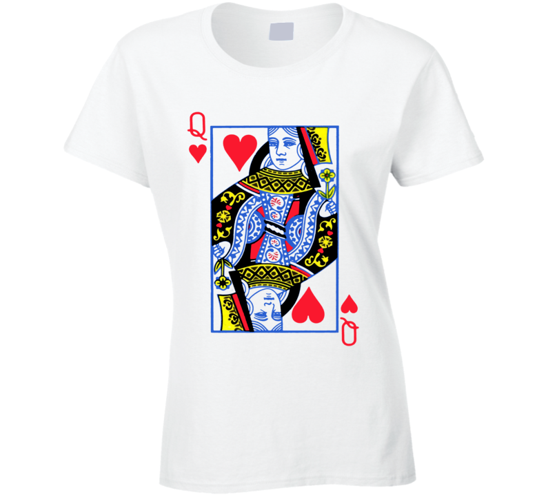 Queen Of Hearts Suit - Deck Of Cards Costume Ladies T Shirt