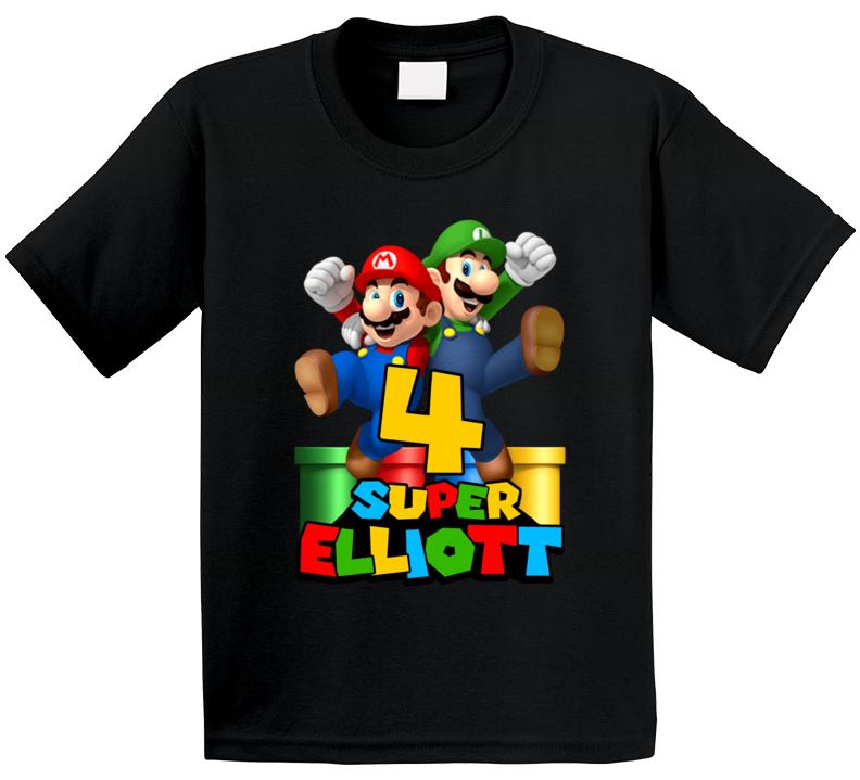 Super Mario Elliott 4th Birthday T Shirt