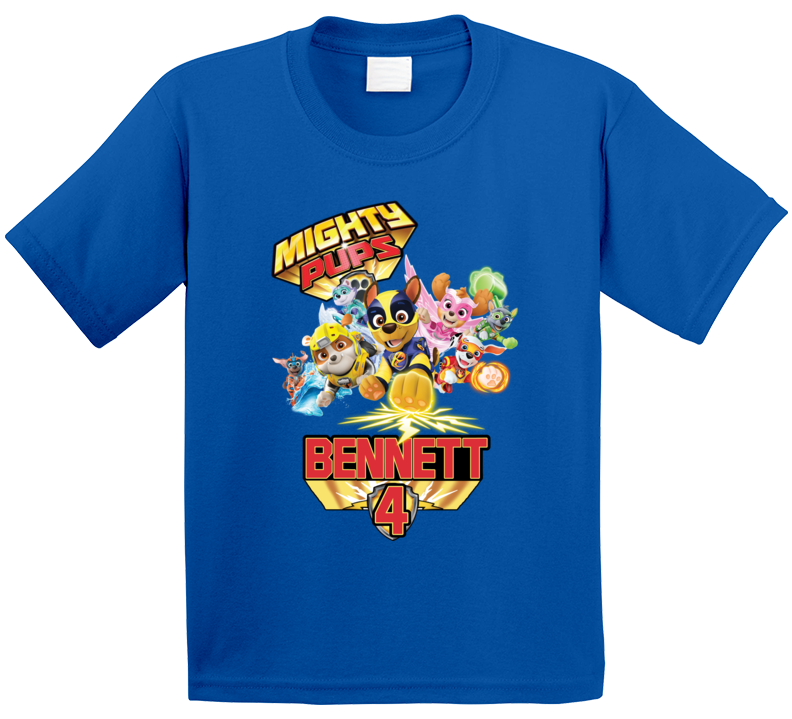 Paw Patrol Mighty Pups Birthday (customize With Name & Age) T Shirt