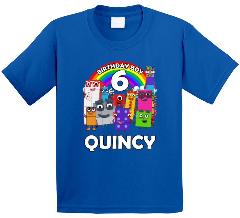 Numberblocks Fan 6th Birthday With Custom Name Quincy T Shirt