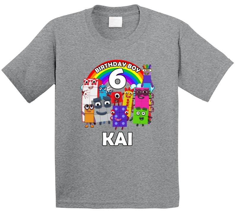 Numberblocks Fan 6th Birthday With Custom Name Kai T Shirt