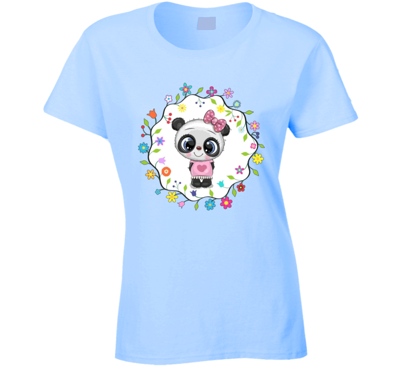 Spring Panda Love Ladies T Shirt