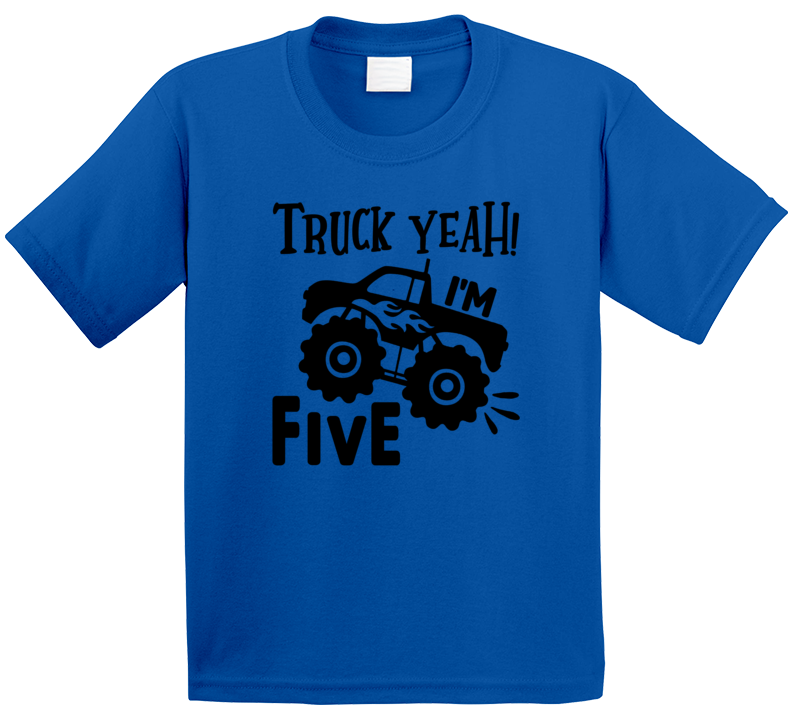 Truck Yeah! I'm 5 Five Birthday Monster Truck T Shirt