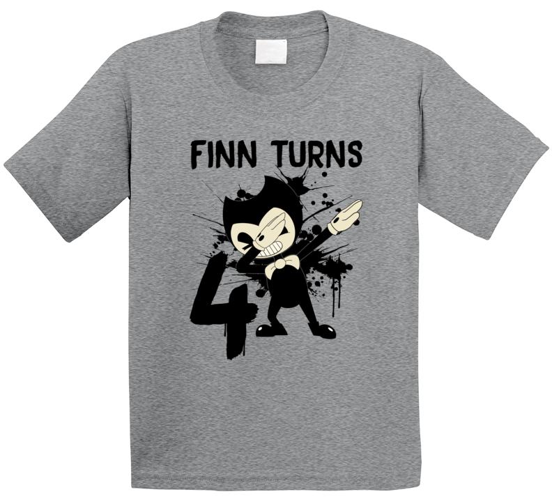 Finn Turns Four 4th Birthday Bendy Fan T Shirt