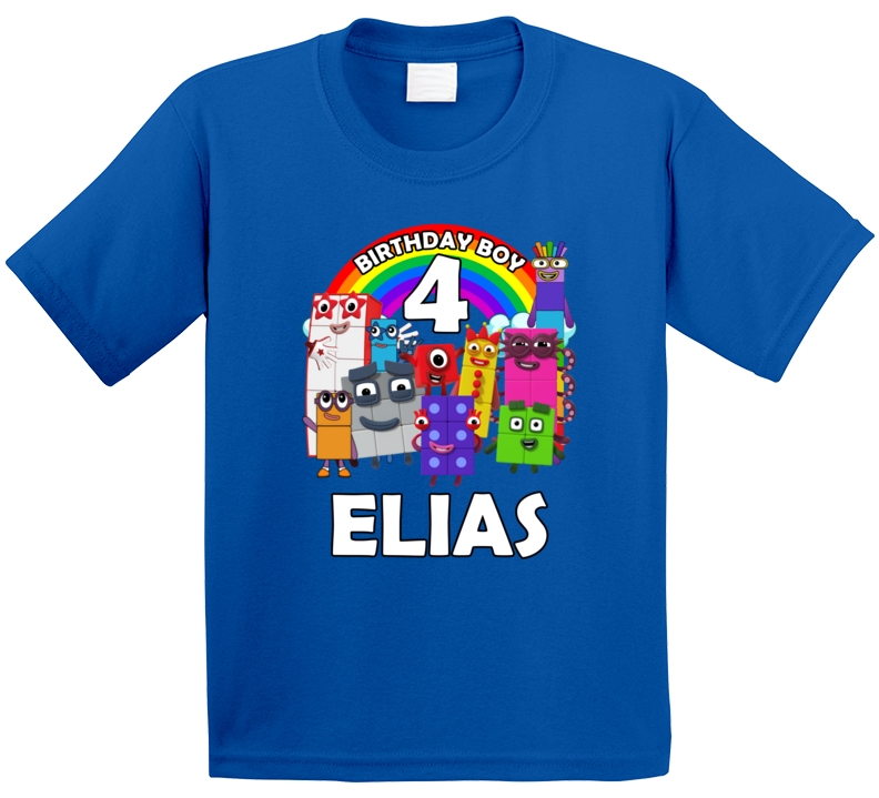Number Blocks Fan 4th Birthday With Customized Name T Shirt