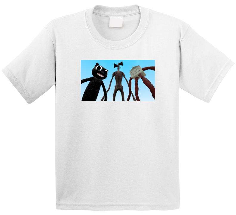 Cartoon Cat, Siren Head And Milk Giant T Shirt