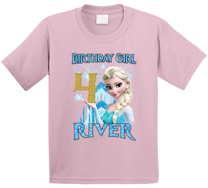 Elsa Frozen 4th Birthday (custom Name) River T Shirt