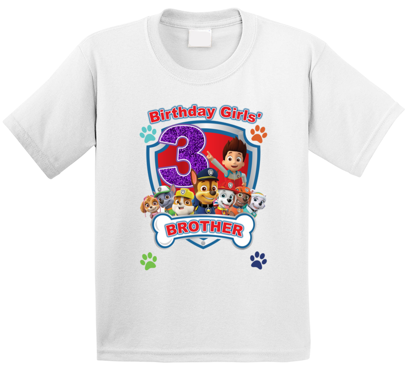 Paw Patrol Birthday Girls' Brother (customize As Needed) T Shirt