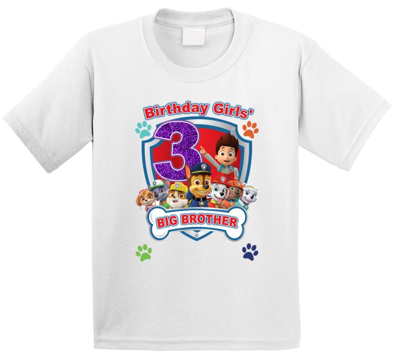 Paw Patrol Birthday Girls' Big Brother (customize As Needed) T Shirt