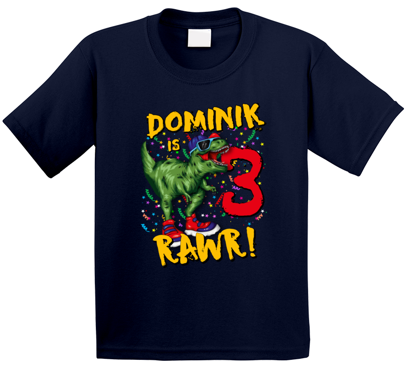 T-rex Dinosaur 3rd Birthday ( Customize Name And Age) T Shirt