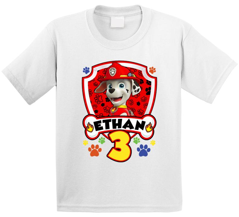 Paw Patrol Marshall Birthday (customize Name And Age) T Shirt