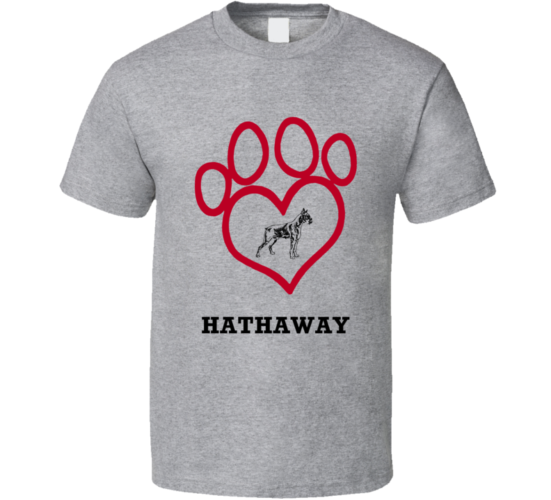 Hathaway Boxer Heart Love Best Friend Heart T Shirt