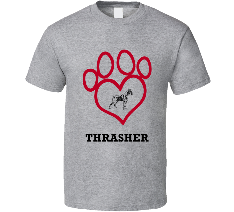 Thrasher Boxer Heart Love Best Friend Heart T Shirt
