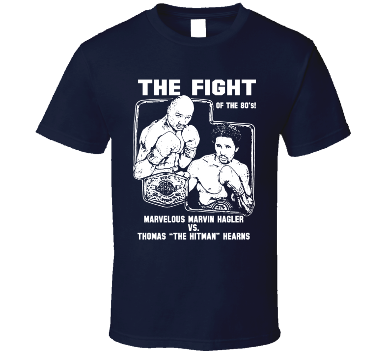 Marvin Hagler Vs Thomas Hearns Fight Card Retro Boxing T Shirt