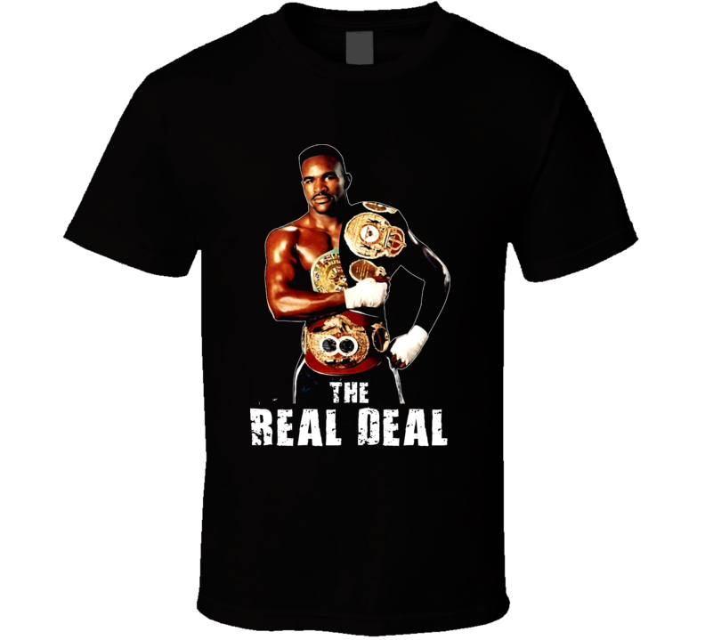 Evander Holyfield The Real Deal Champion Retro Boxing T Shirt