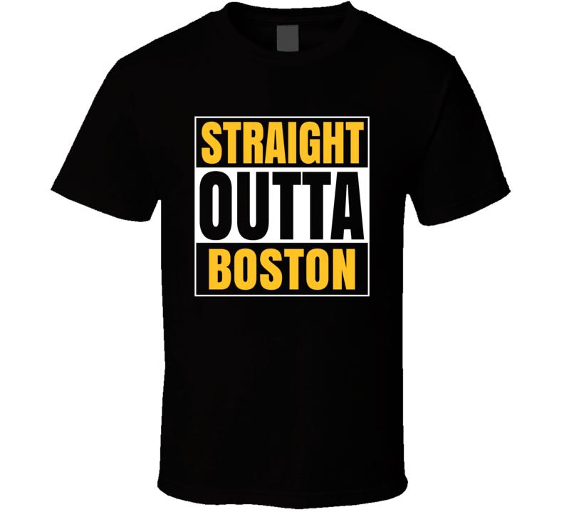 Straight Outta Compton Boston Parody Hockey Team Colors T Shirt