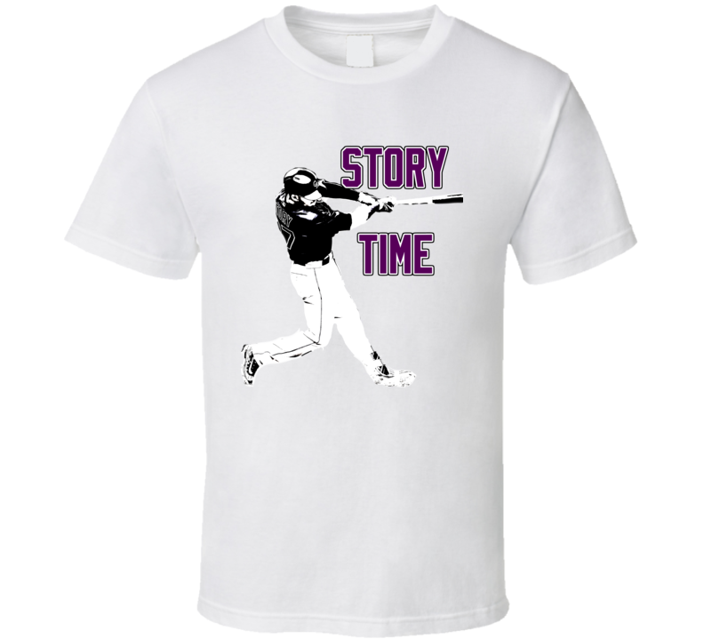 Trevor Story Colorado Baseball Story Time Fan White Tshirt