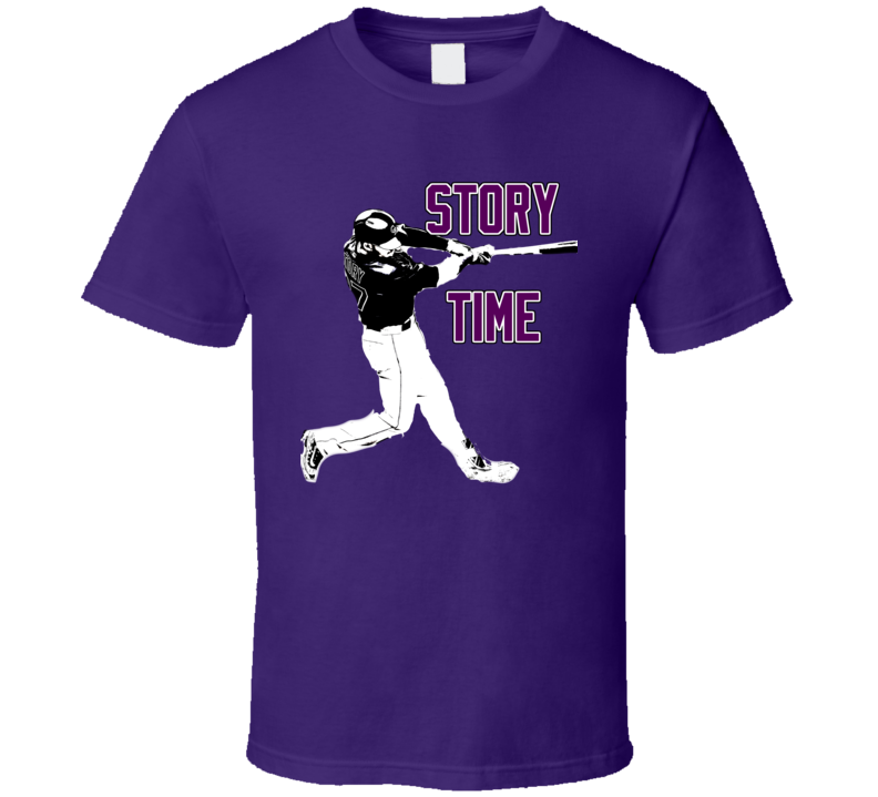 Trevor Story Colorado Baseball Story Time Fan Purple Tshirt