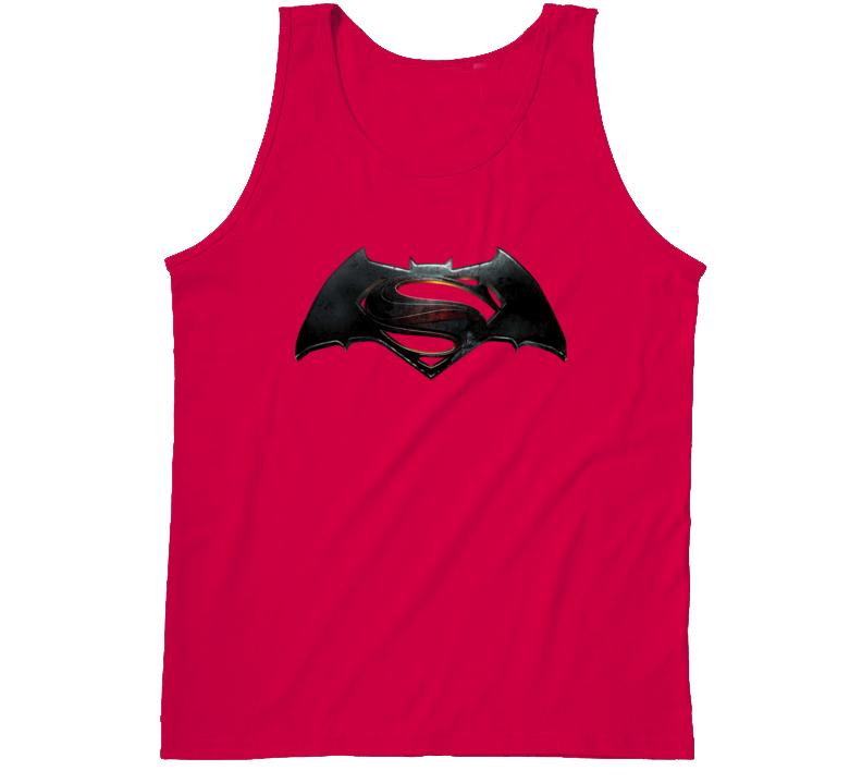 Batman V Superman Dawn of Justice Embossed Metal Movie Logo Tanktop
