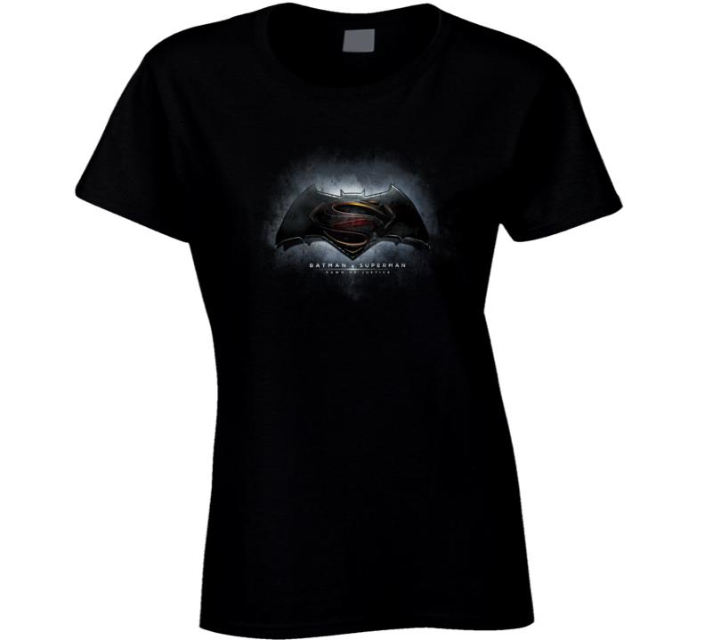 Batman V Superman Dawn of Justice Movie Logo Poster Ladies T Shirt