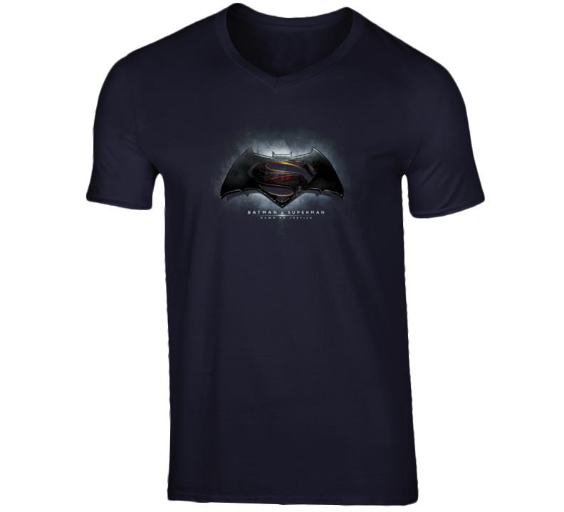 Batman V Superman Dawn of Justice Movie Logo Poster V-Neck T Shirt