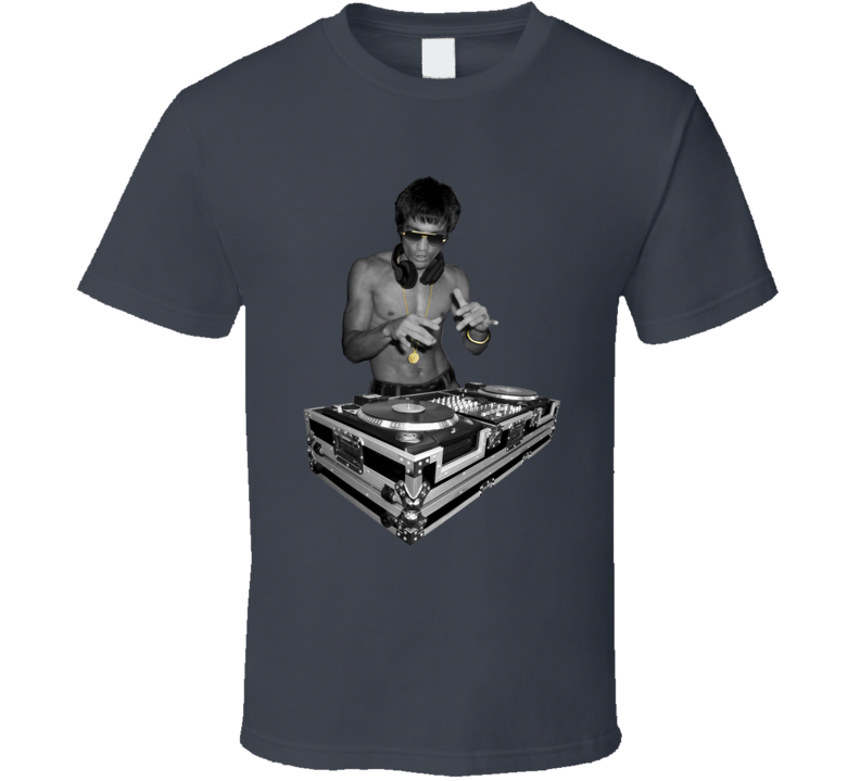 Bruce Lee DJing Avengers Ultron Robert Downey Iron Man Grey T Shirt