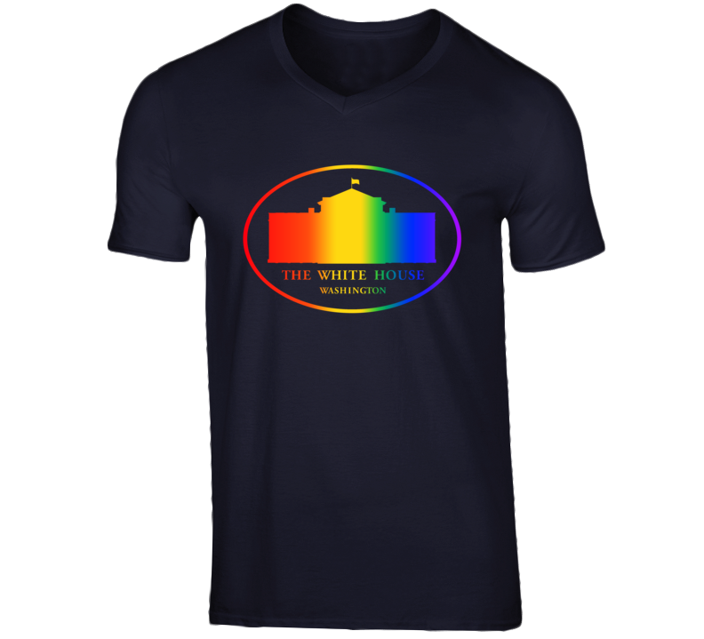 US White House Supports Same Sex Marriage Rights Rainbow Logo V-Neck