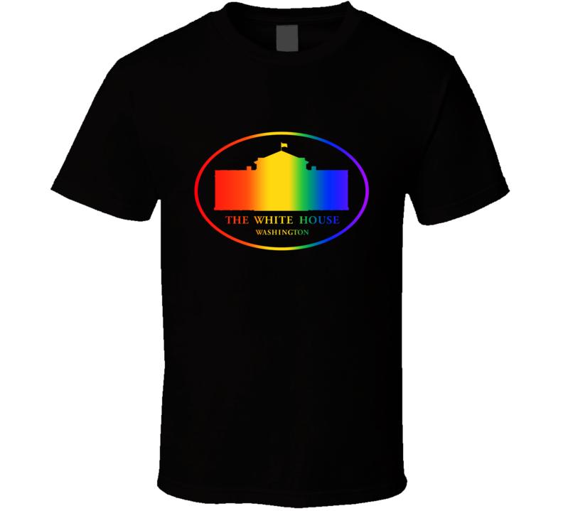US White House Supports Gay Freedom of Choice Rainbow Logo T Shirt