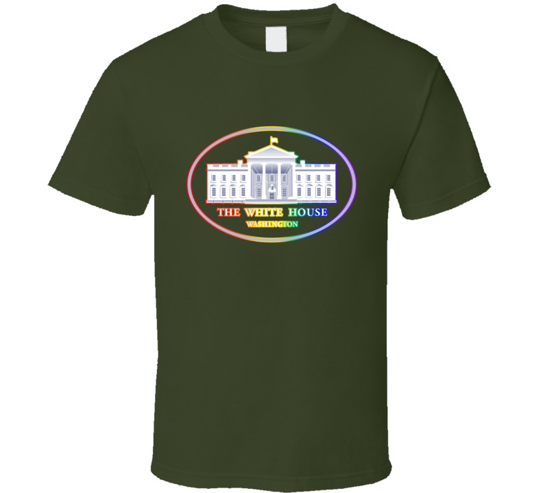 US White House Supports Gay Freedom Military Rainbow Logo T Shirt