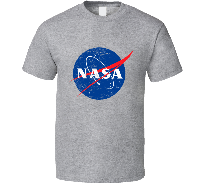 NASA Space Research Enthusiast Famous Classic Logo Worn Look T Shirt