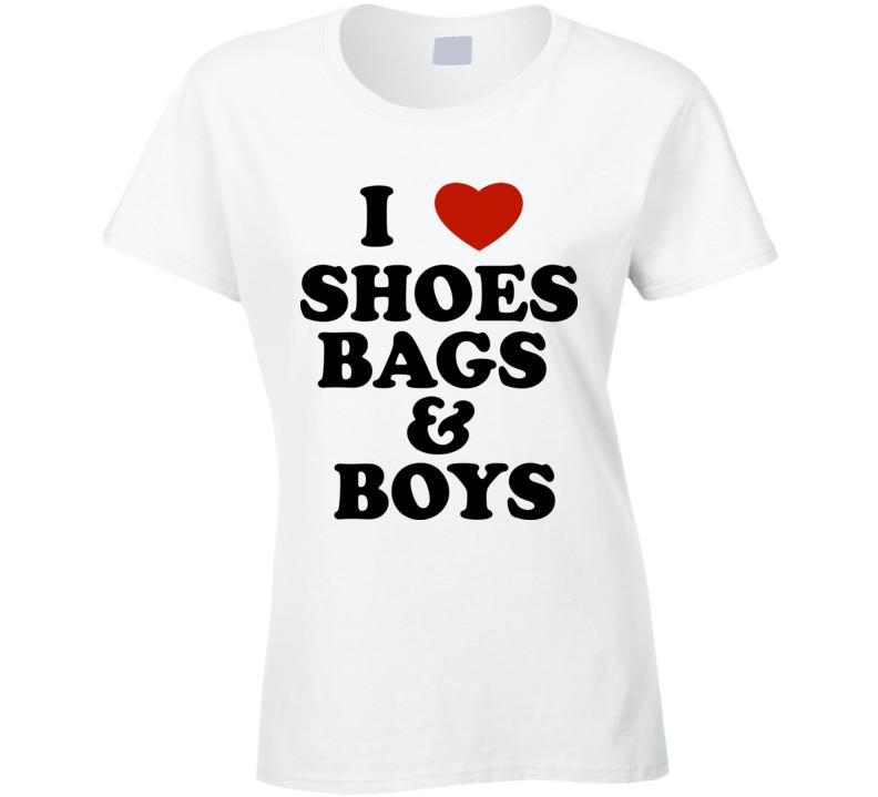 I Love Shoes Bags Boys Fun Ladies Tee Celebrity Paris Hilton Inspired T Shirt
