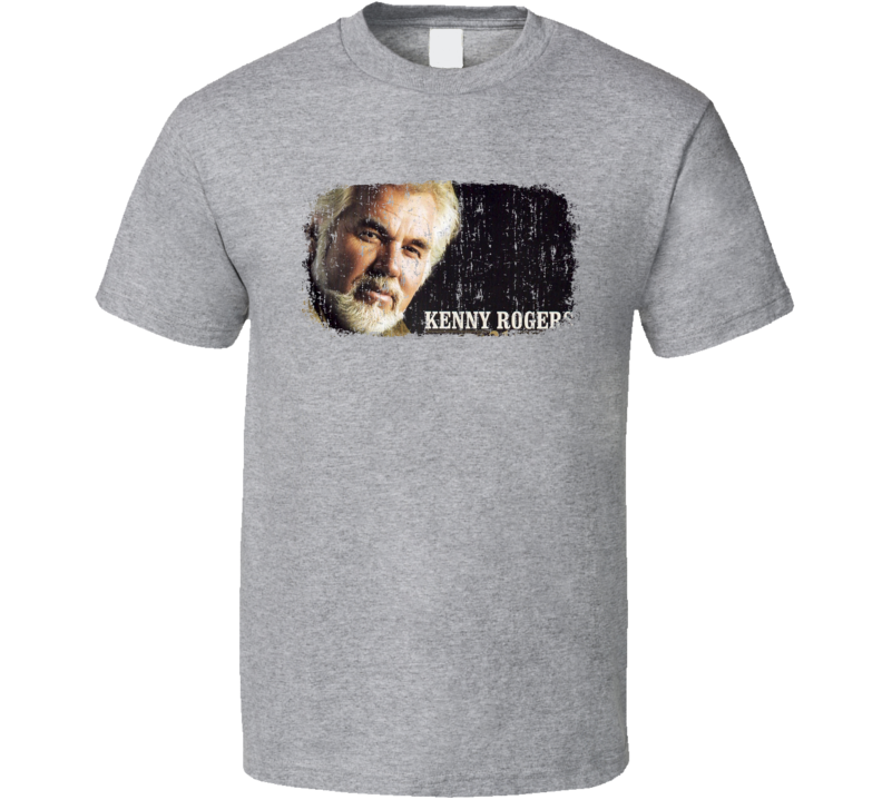 Kenny Rogers Great Country Music Cool Artist Worn Look T Shirt