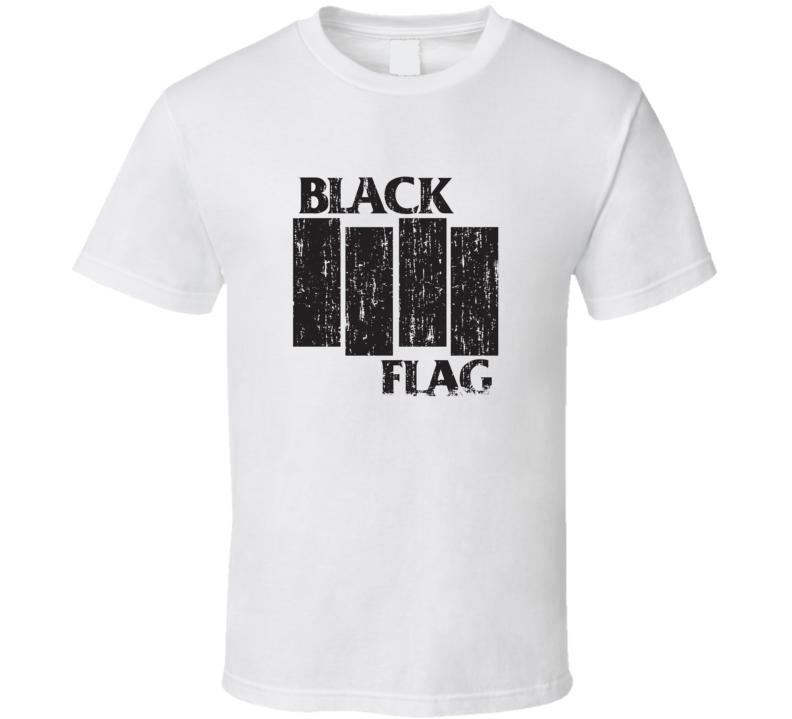 Black Flag Punk Rock Band Cool Worn Look Music T Shirt