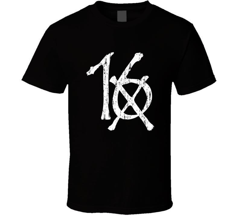 Black Sixteen Dark Grunge Rock Band Cool Logo Worn Look Music T Shirt