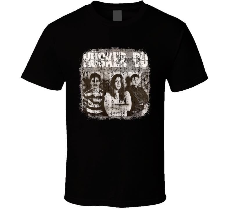 Husker DU Punk Rock Band Cool Logo Worn Look Music T Shirt