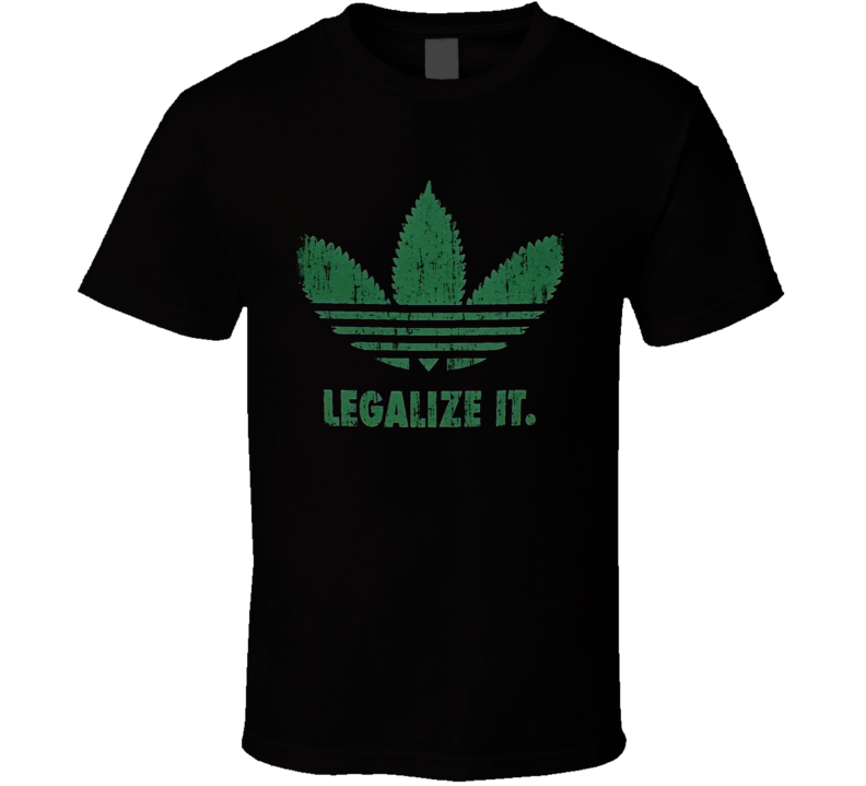 Legalize It Adidas Cannabis Cool Free Weed Funny Worn Look T Shirt