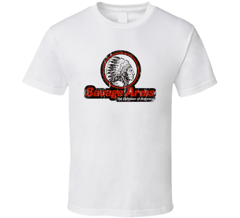 Savage Firearm Hunter Rifle Fathers Day Worn Look Cool Gun T Shirt