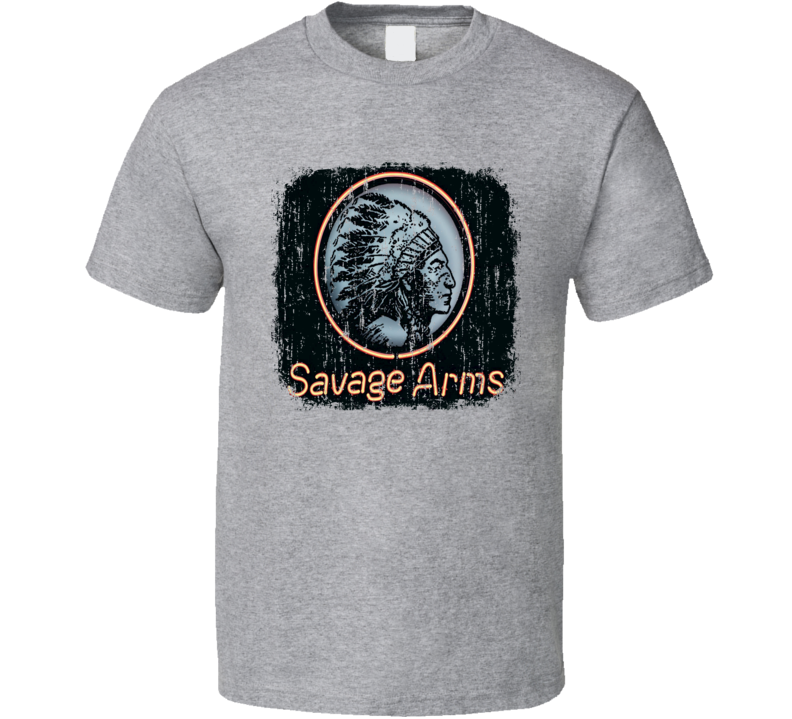 Savage Firearm Hunter Rifle Fathers Day Worn Look Cool Gun T Shirt