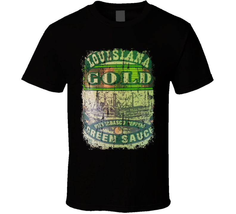 Louisiana Gold Green Mexico Hot Sauce Lover Worn Look Fun Cool T Shirt