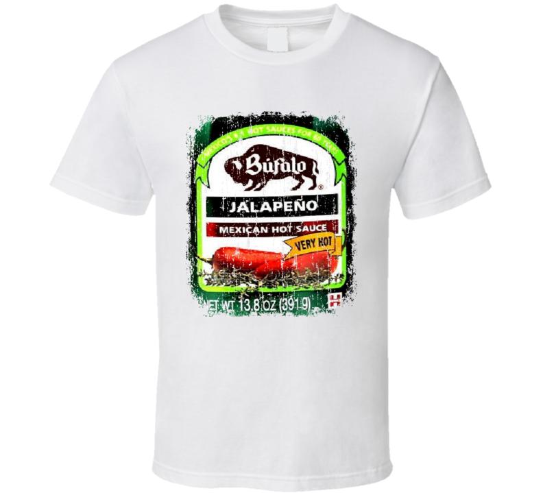Bufalo Jalapeno Mexio Hot Sauce Lover Worn Look Fun Cool T Shirt