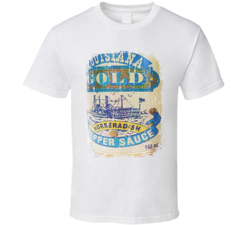 Louisiana Gold Horseradish US Hot Sauce Lover Worn Look Cool T Shirt