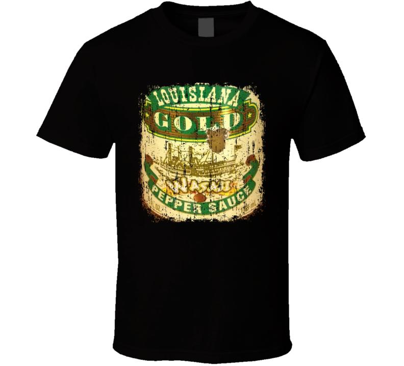 Louisiana Gold  Wasabi US Hot Sauce Lover Worn Look Fun Cool T Shirt