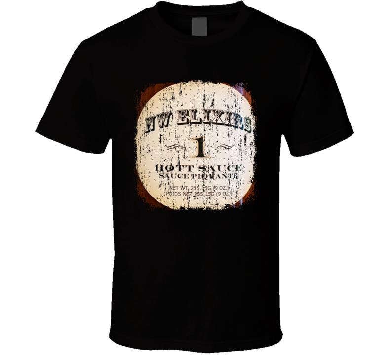 Nw Elixirs USA Hot Sauce Lover Worn Look Fun Cool T Shirt