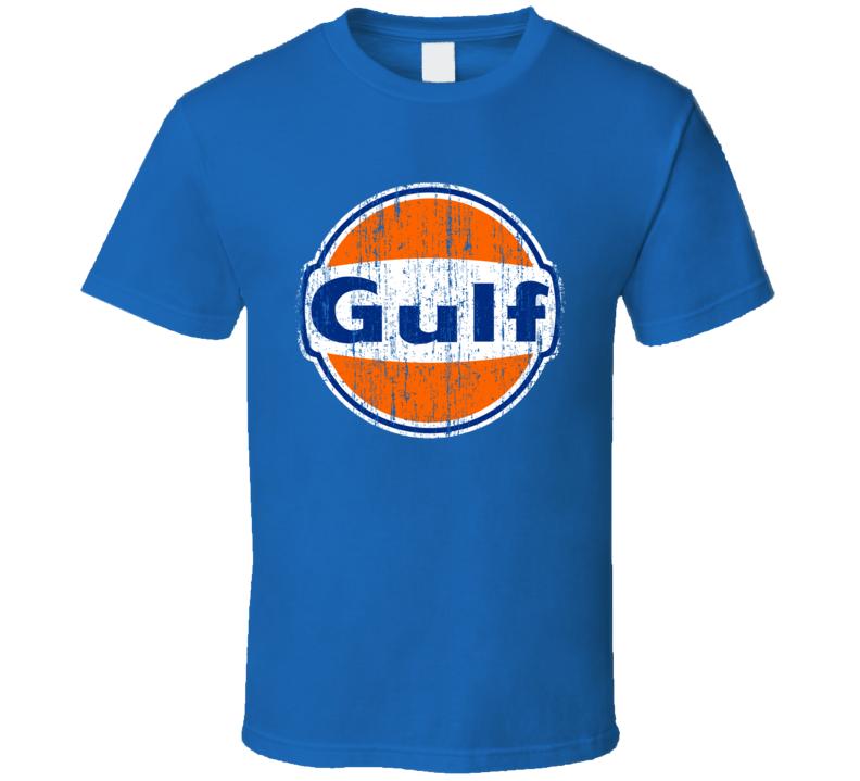 Gulf Auto Fluids Gas Motor Oil Fuels Cool Worn Look T Shirt