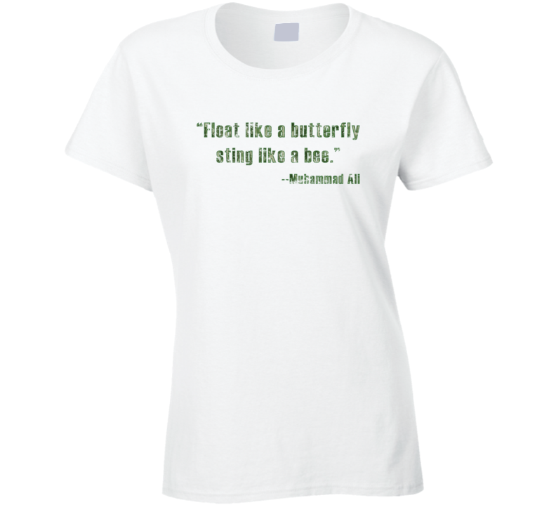Muhammad Ali Float Like a Butterfly Bee Sting Worn Look Ladies T Shirt