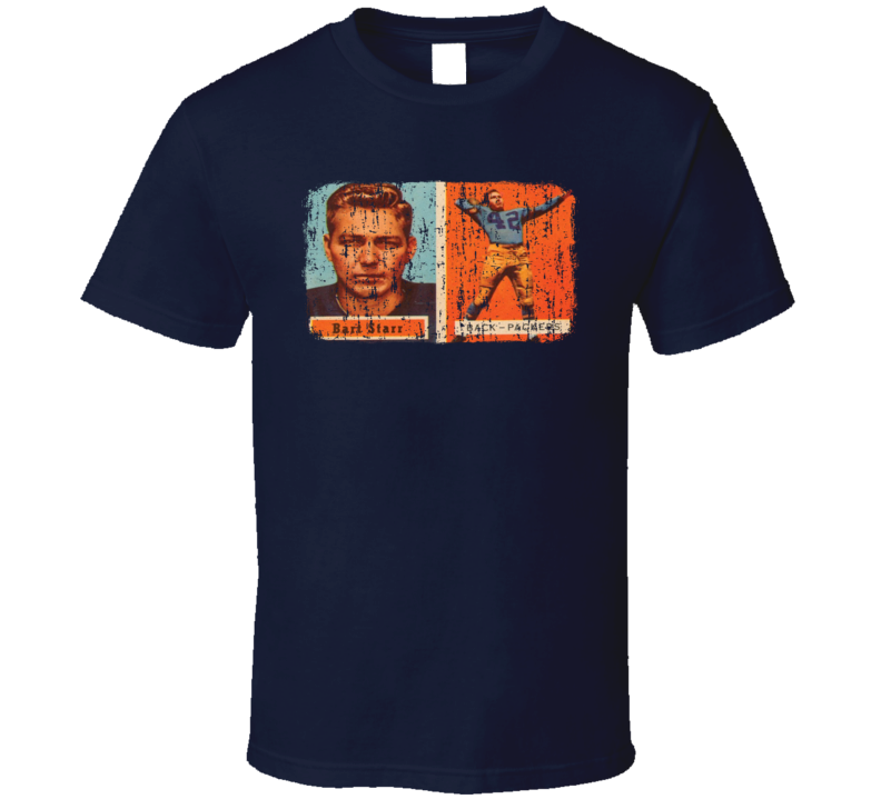 1957 Bart Starr Vintage Football Trading Card Worn Look Cool T Shirt