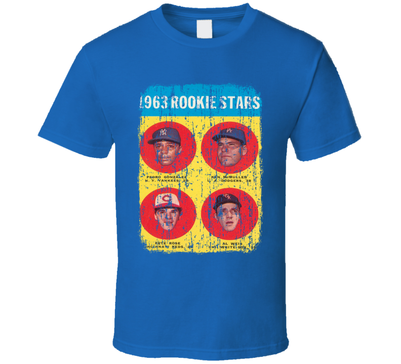 1963 Rookie Stars Vintage Baseball Trading Card Worn Look Cool T Shirt