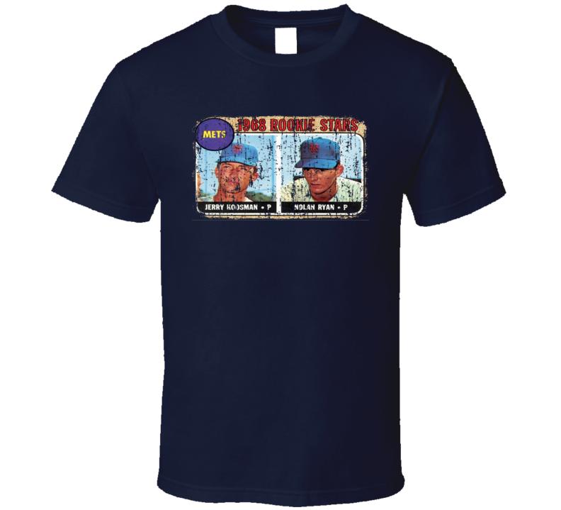 1968 Mets Rookies Vintage Baseball Trading Card Worn Look Cool T Shirt