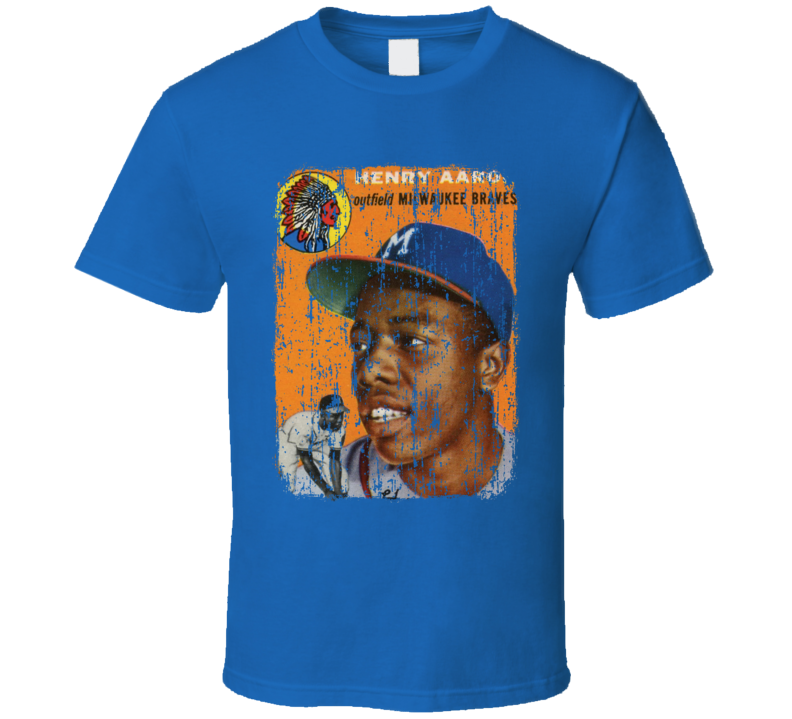 1954 Hank Aaron Vintage Baseball Trading Card Worn Look Cool T Shirt