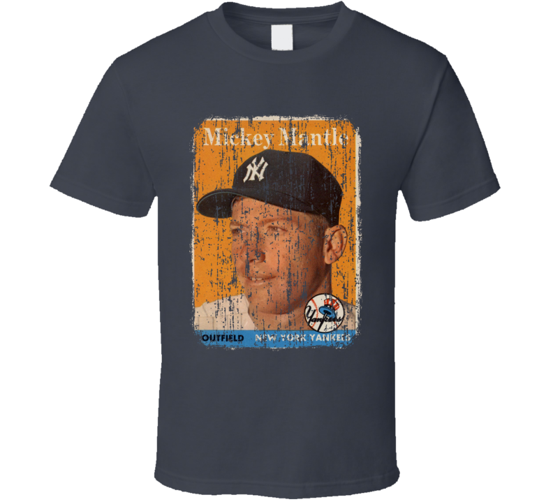 1958 Mickey Mantle Vintage Baseball Trading Card Worn Look T Shirt